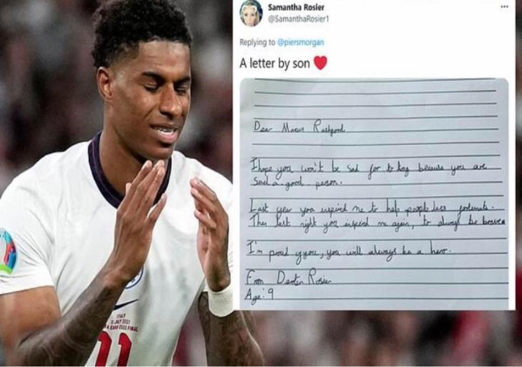 6da2337b d101 4ea6 98a3 86846de67999 - طفل إنجليزى يبعث رسالة حب ودعم للاعب المنتخب الإنجليزى عقب خسارة المباراة لنهائية في يورو 2020